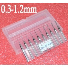 Kit de 10 Brocas de Carburo de Tungsteno de 0.3mm a 1.2mm para PCB